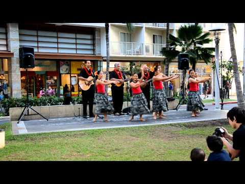 Singing and Hula at Waikiki Beach Walk  1-31-12