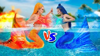 Hot vs Cold Challenge / Mermaid on Fire vs Icy Mermaid