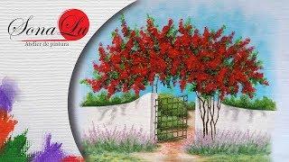 Tecido com Pintura de Portão com Primaveras
