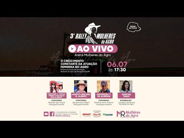 AO VIVO | 3º RALLY MULHERES DO AGRO | Associação Mulheres do Agro de Mangueirinha/PR
