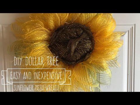 DIY Dollar Tree  Easy And Inexpensive  Sunflower Mesh Wreath