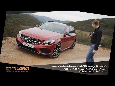 Mercedes C 450 AMG 4MATIC Sport Estate / Testdrive in Portugal (German)