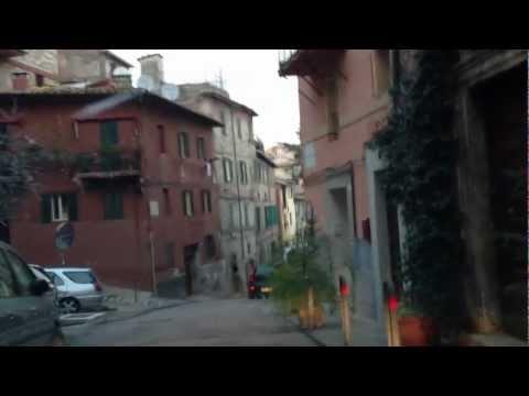 Perugia, Italy Car Ride Through Tight City Streets