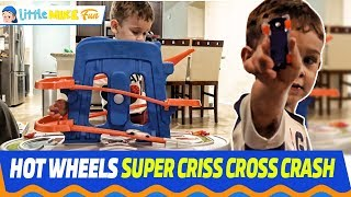 HOT WHEELS SUPER Criss Cross Crash | Little Mike Fun