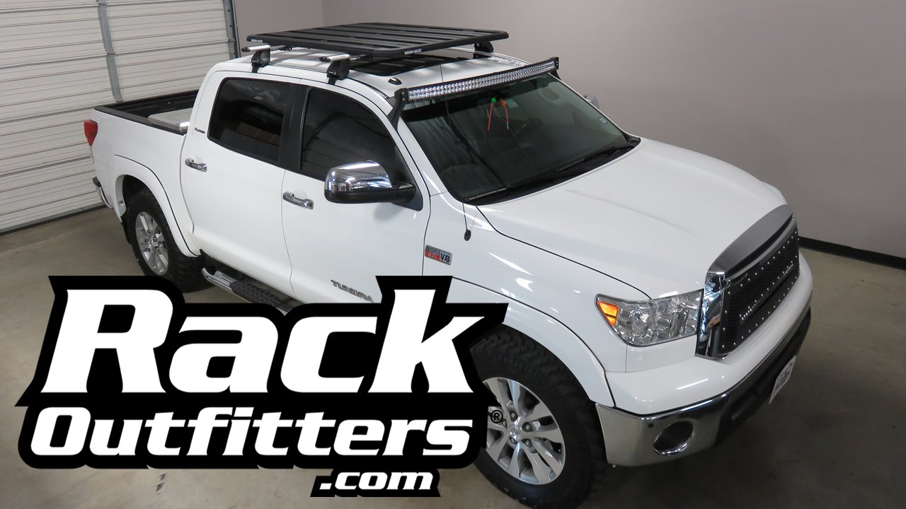 Toyota Tundra Crew Max With Rhino Rack Roof Rack And Universal Pioneer  Platform Cargo Tray   YouTube
