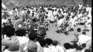 King  Haile Selassie I watches a procession in Ethiopia HD Stock Footage | Historical Video