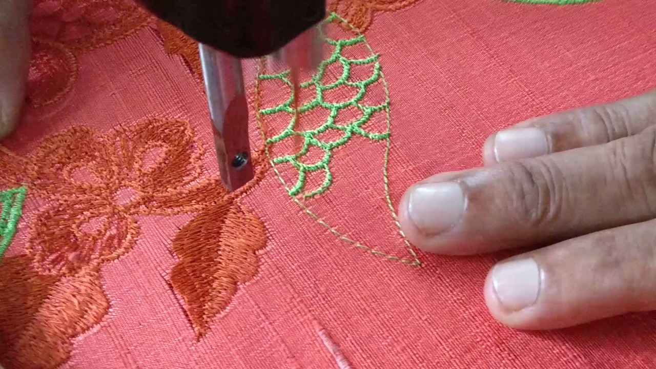 Cutwork Leaf Design Using Machine Embroidery Youtube