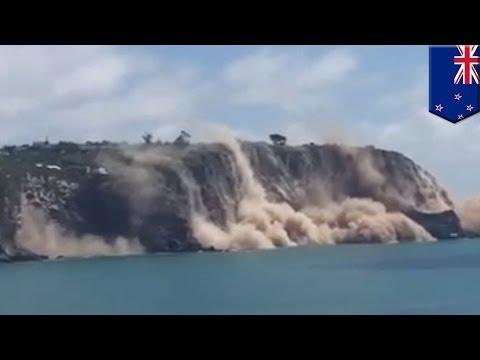 Earthquake! Cliffs collapse into the ocean as quake hits Christchurch, New Zealand - TomoNews