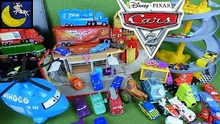 LOTS of Disney Cars 2 Toys! HUGE Cars Collection Lightning Mcqueen Tow Mater Playset Racetrack Toys