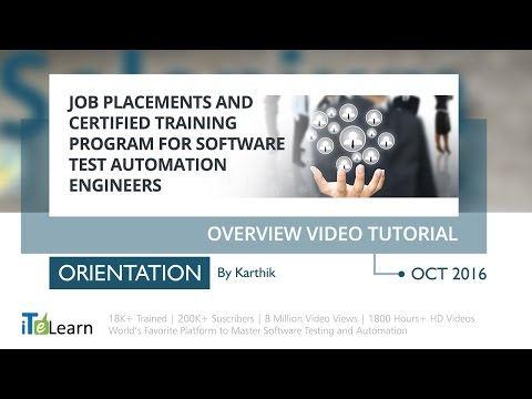 Job Placements and Certified Training program for Software Test Automation Engineers Part -1