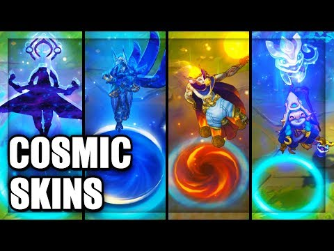 All Cosmic Skins Spotlight Lulu Ashe Xin Zhao Xayah Master Yi Rakan Kassadin (League of Legends)