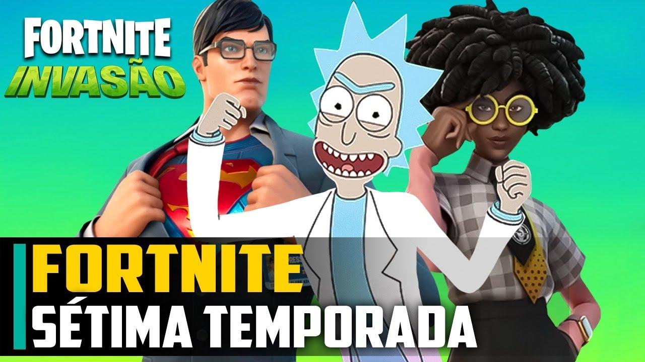 Rick and Morty e ALIENS, Fortnite sétima temporada: A INVASÃO, passe de batalha COMPLETO