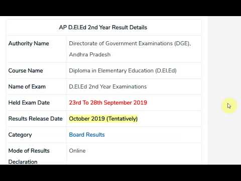 AP ded 2nd Year Results 2019 D.EL.Ed Result bseap.org