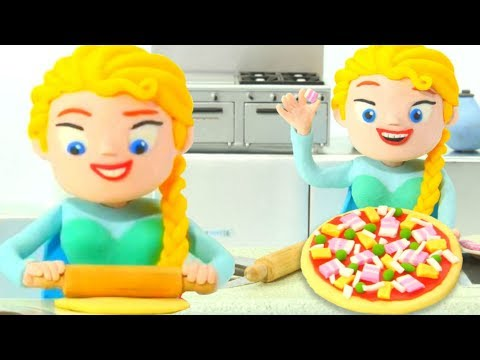 PRINCESS ELSA COOKING PIZZA ❤ SUPERHERO PLAY DOH CARTOONS FOR KIDS