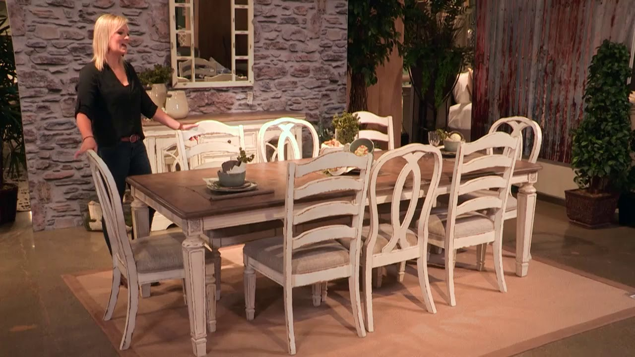 Realyn Chipped White Extendable Rectangular Dining Room Set From Signature Design By Ashley Youtube