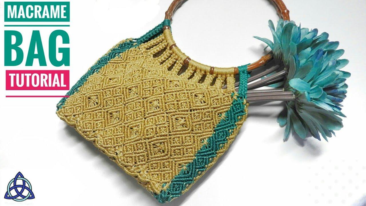 DIY Macrame Bag with Wooden Handles - Macrame Craft Ideas - YouTube