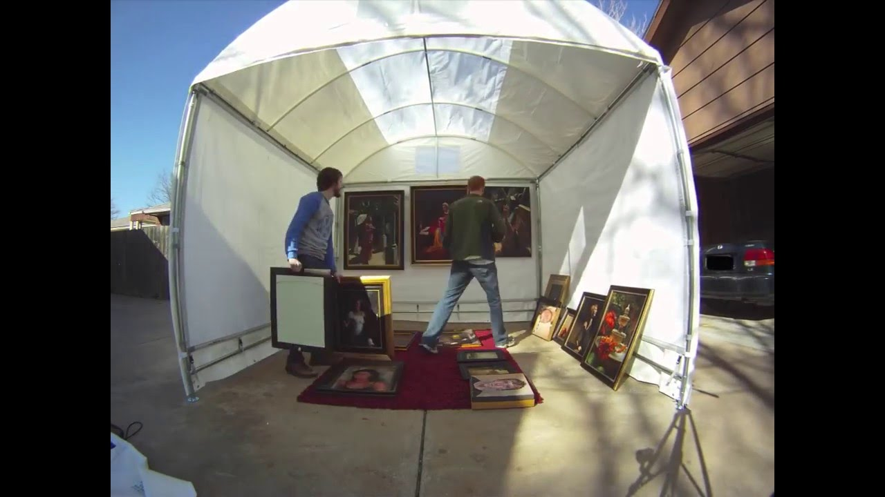 Jamin and vince build a trimline canopy artist tent youtube for Used craft fair tents