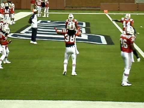 Sergio Brown #38 New England Patriots Defensive Back dancing during pregame warm up.