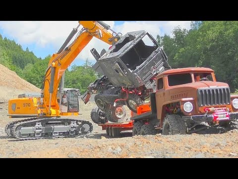 RC TRUCK ACCIDENT! HEAVY MERCEDES AWD TRUCK CRASH ON THE CONSTRUCTION SITE! RC LIVE ACTION CRASH DAY