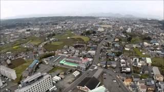 休日の町 裾野市と富士山 空撮