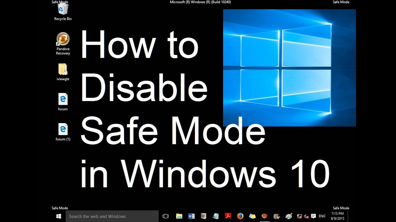How to disable safe mode on startup in windows 10 (1 simple step