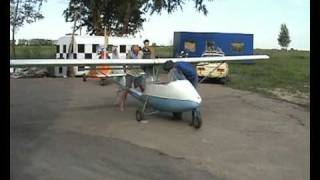 Man flying his built in garage airplane