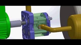 circuit hydraulique pour un pompe à engrenage avec un vérin double effet