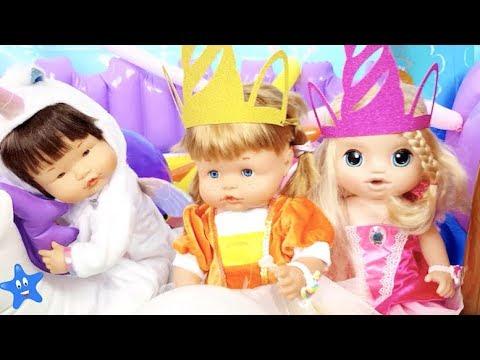 Cumpleaños de Ona de UNICORNIOS Castillo hinchable regalos Muñecas Bebés Nenuco