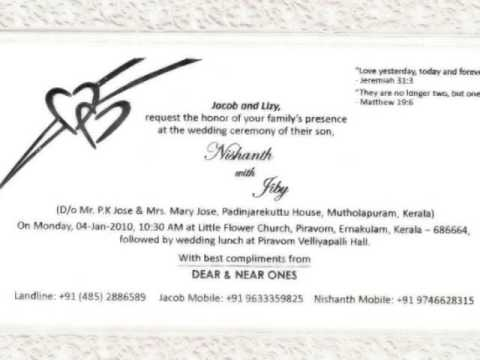 Nishanth jiby wedding invitation youtube stopboris Image collections