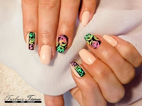 How to do Rainbow Velvet 3D Roses Nail Art step by step tutorial