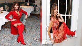 Lizzie Cundy embraces Valentine s Day in cleavage baring red dress and matching boots