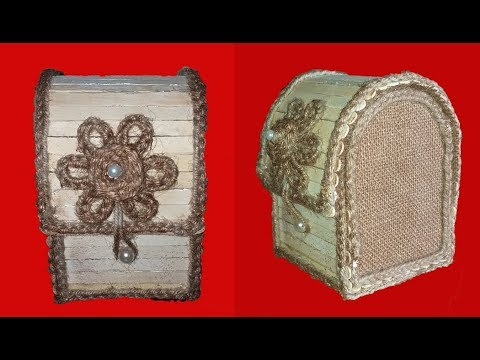DIY Jewellery Box made from Jute Rope & Popsicle Sticks | Jute Jewellery Box | Ice cream Stick Craft