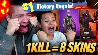1 KILL 8 SKINS GRATUIT POUR mon 9 ANS OLD LITTLE BROTHER! 9 ANS JOUE FORTNITE BATTLE ROYALE!