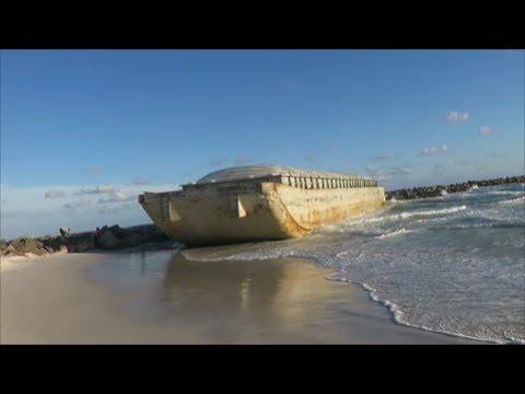 Barge Washes Ashore at St Andrews State Park, Panama City Beach FL May 24 2017