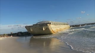 Barge Washes Ashore at St Andrews State Park Panama City Beach FL May 24 2017