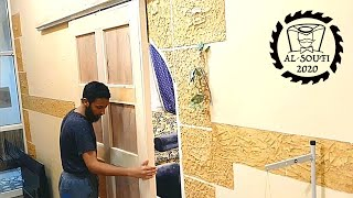 اسهل طريقة لعمل باب جرار  the easiest way to make a sliding door