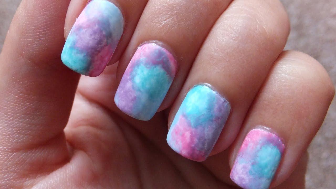 Easy Watercolor Pastel Nail Art Design Tutorial