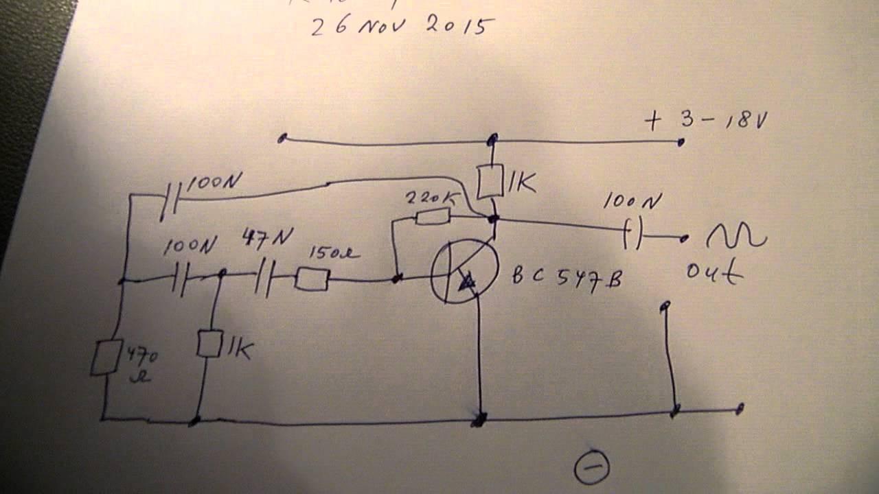 sine wave RC oscillator 500 Hz etc with 1 transistor schematic  YouTube