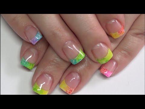 rainbow french tip gel polish