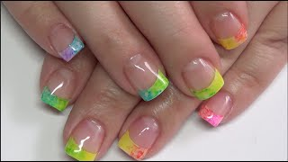 Rainbow French Tip   Gel Polish Nail Design   Revamp Classic White Tips   Beanana711   Sharpie