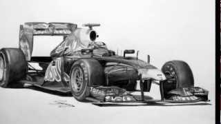 Red Bull RB7 F1 Pencil Drawing