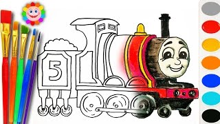 Coloring with Thomas and Fiends How to Draw James the Red Engine Learning Coloring Page