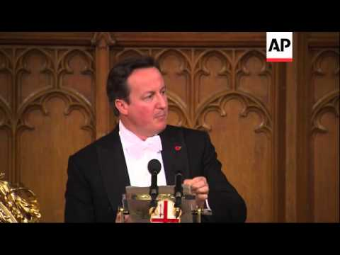 PM Cameron critical of Russia in foreign policy speech at Lord Mayor's Banquet