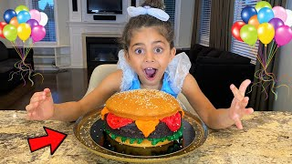 Sally Prepared a Burger Birthday Party Cake Surprise for Zack from HZHtube kids fun