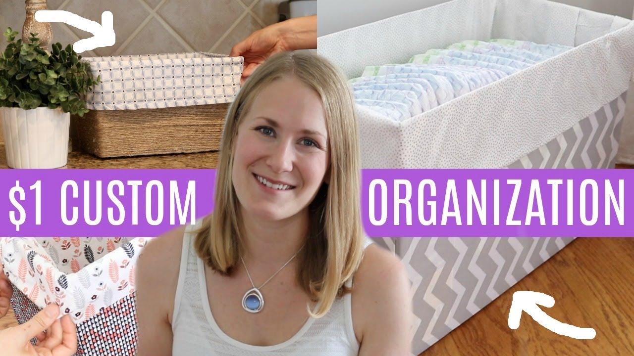 DOLLAR TREE DIY 💚  1 Custom Organization Boxes (NO SEW!) - YouTube feb5434de1