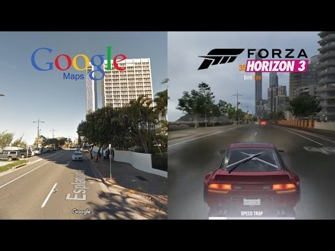 Forza Horizion 3 Surfers Paradise - Real Life vs Gameplay Picture Comparison