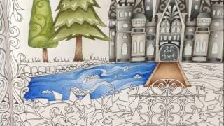Part 4 - how to color water - coloring book enchanted forest - coloring with prismacolor pencils