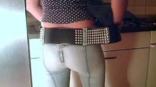 Trying on a studded belt