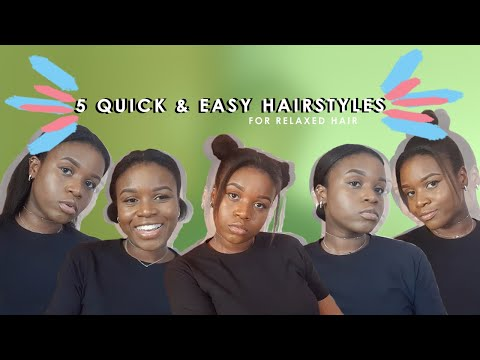 5 QUICK AND EASY HAIRSTYLES FOR RELAXED HAIR (SHOULDER LENGTH HAIR) || heyyitsjoshie