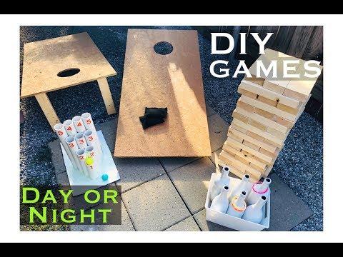 4 DIY LAWN GAMES *Cornhole, Jenga, Chutes & Bottle Toss*